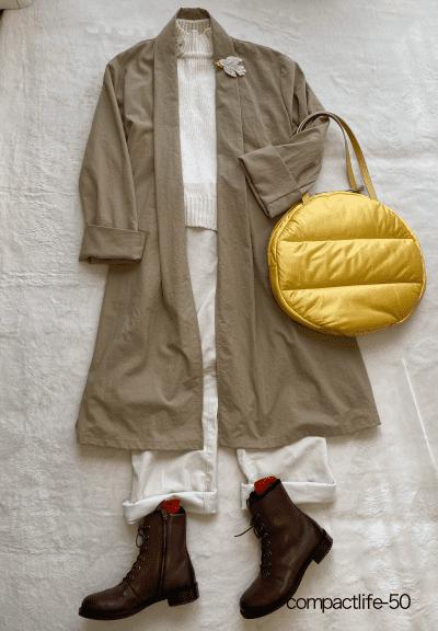 冬コーデコートを着るアラ還